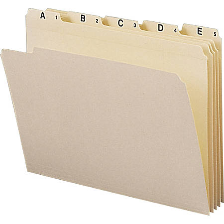 """Smead Alphabetic Folder Sets - Letter - 8 1/2"""" x 11"""" Sheet Size - 3/4"""" Expansion - 1/5 Tab Cut - Assorted Position Tab Location - 11 pt. Folder Thickness - Manila - Recycled - 25 / Set"""