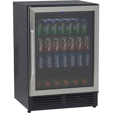 Avanti® 5 Cu. Ft. Beverage Cooler With Glass Door, Black/Silver