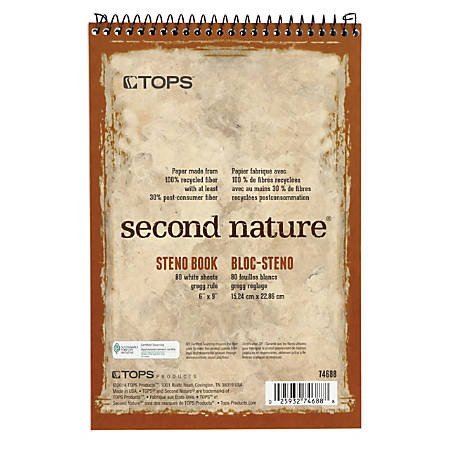 "TOPS™ Second Nature® Steno Books, 6"" x 9"", Gregg Ruled, 160 Pages (80 Sheets), 100% Recycled, White"