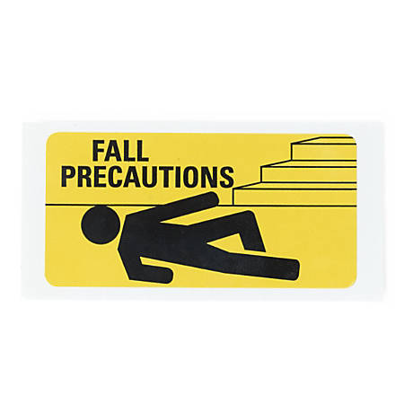 """Medline Fall Precaution Labels, 3"""" x 1 1/2"""", Yellow, Pack Of 500"""