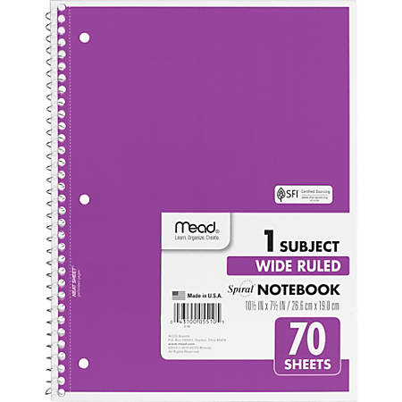 """Mead Spiral Bound Wide Ruled Notebooks - 70 Sheets - Spiral - Wide Ruled - 8"""" x 10 1/2"""" - White Paper - Assorted Cover - 1Each"""