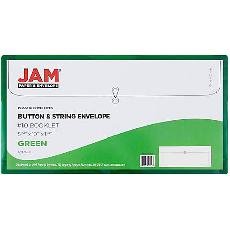 "JAM Paper® Index Booklet Plastic Envelopes, #10, 5 1/4"" x 10"", Green, Pack Of 12"