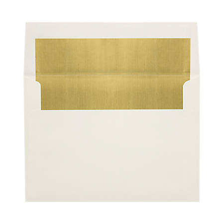 """LUX Foil-Lined Invitation Envelopes With Peel & Press Closure, A4, 4 1/4"""" x 6 1/4"""", Natural/Gold, Pack Of 50"""