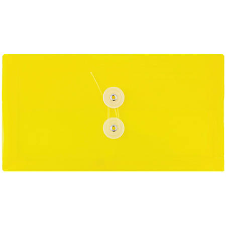 """JAM Paper® Index Booklet Plastic Envelopes, #10, 5 1/4"""" x 10"""", Yellow, Pack Of 12"""