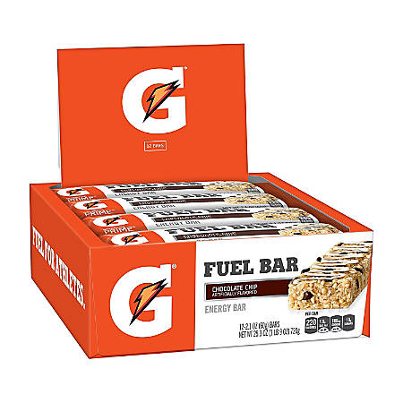Gatorade Prime Fuel Bars, Chocolate Chip, 2.1 Oz, Pack Of 12