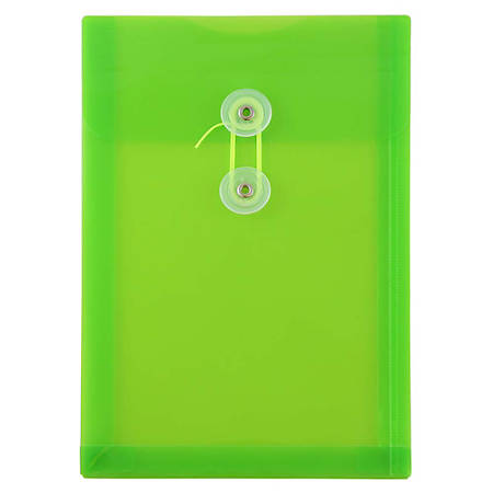 """JAM Paper® Open-End Plastic Envelopes, 6 1/4"""" x 9 1/4"""", Classic Lime Green, Pack Of 12"""