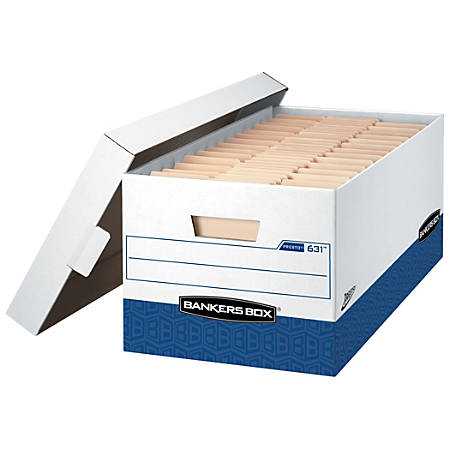 """Bankers Box® Presto™ Storage Boxes, Letter, 24"""" x 12"""" x 10"""", 60% Recycled, White/Blue, Pack Of 12"""
