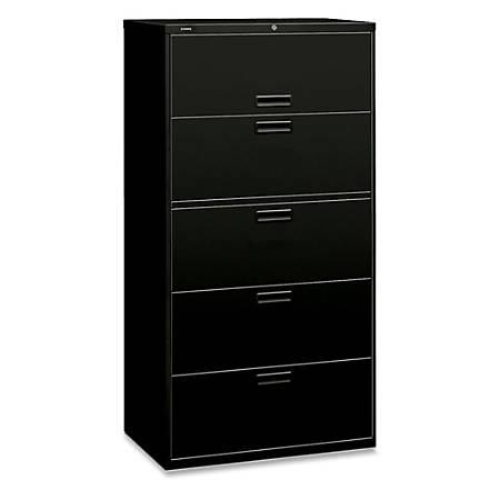 "HON® 500-Series Lateral File, 5 Drawers, 67""H x 36""W x 19 1/4""D, Black"