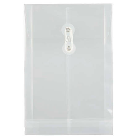 """JAM Paper® Open-End Plastic Envelopes, 6 1/4"""" x 9 1/4"""", Clear, Pack Of 12"""