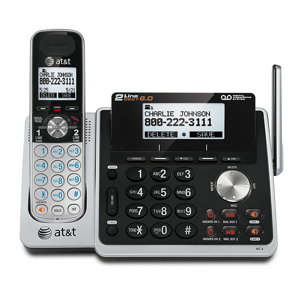 2 lines provide more flexibility in your home or office  Digital answering system includes a mailbox for each phone line. Get up to 14 minutes of recording time for each mailbox .  DECT 6.0 digital technology for secure, crystal clear calls.  Handset and base speakerphone s let you multitask while you talk.  Features Dual Caller ID/Call Waiting with 50-number storage.  Expandable up to 12 cordless handsets to suit your growing home or business.  Conference between an outside line and up to 4 cordless handsets .  Headset-compatible (2.5mm jack) for more hands-free flexibility.  Energy efficient - designed to use less energy than alternative products, potentially helping you save money and reduce your carbon footprint.  ENERGY STAR certified - meets federal guidelines for energy efficiency.