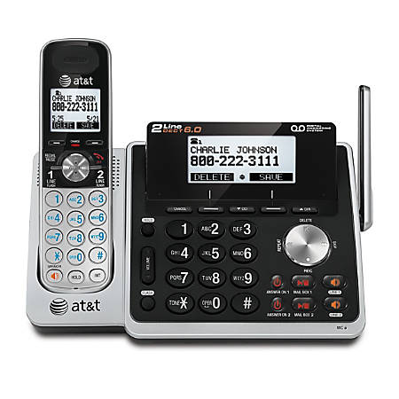 AT&T TL88102 DECT 6.0 Digital 2-Line Cordless Phone With Answering, Silver/Black