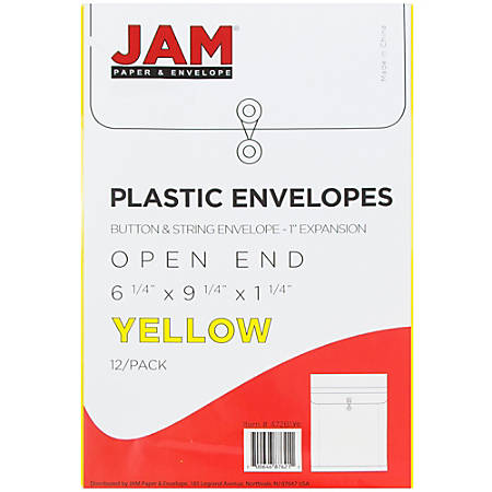 """JAM Paper® Open-End Plastic Envelopes, 6 1/4"""" x 9 1/4"""", Yellow, Pack Of 12"""