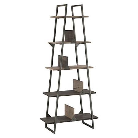 Bush Furniture Refinery A Frame Bookshelf, Rustic Gray/Charred Wood, Standard Delivery