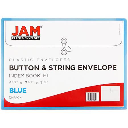"JAM Paper® Index Booklet Plastic Envelopes, 5 1/2"" x 7 1/2"", Blue, Pack Of 12"