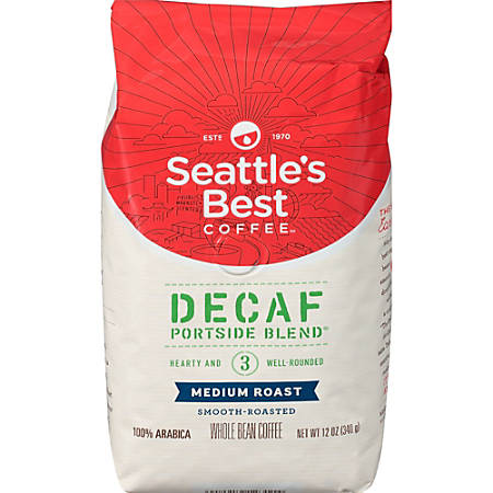 Seattle's Best Coffee Portside Blend Decaf Whole Bean Coffee - Level 3 - Decaffeinated - Signature Blend - 12 oz Per Bag - 1 Each