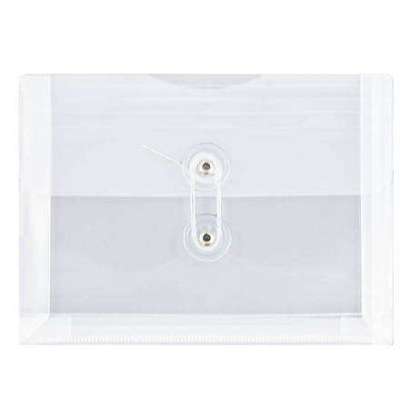 "JAM Paper® Index Booklet Plastic Envelopes, 5 1/2"" x 7 1/2"", Clear, Pack Of 12"