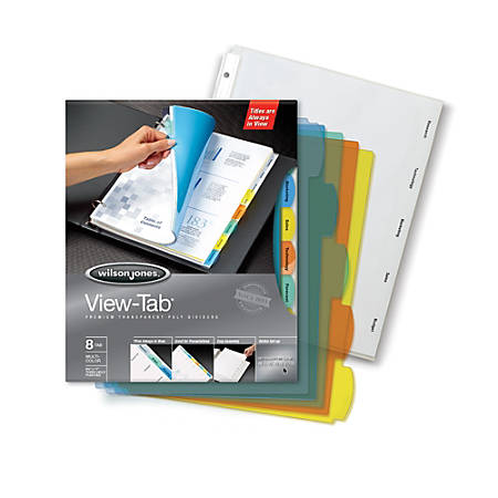 Wilson Jones® View-Tab® Transparent Dividers, 8-Tab, Square, Multicolor, Pack Of 5 Sets