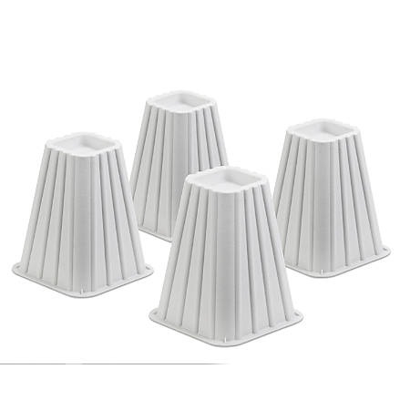 """Honey-Can-Do Bed Risers, 7 1/4"""", White, Set Of 4"""