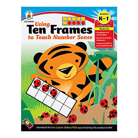 Carson-Dellosa Using Ten Frames To Teach Number Sense Book, Grades K - 1