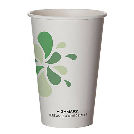 Highmark® Renewable Hot Drink Cups, 16 Oz, White/Green/Black, Pack Of 500