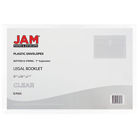 "JAM Paper® Plastic Booklet Envelopes With Button & String Closure, Legal-Size, 9 3/4"" x 14 1/2"", Clear, Pack Of 12"
