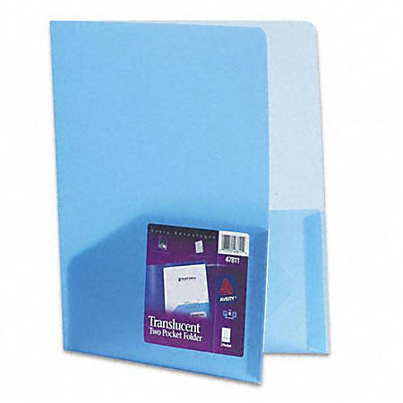Avery® Translucent Report Cover, Twin Pocket, Blue