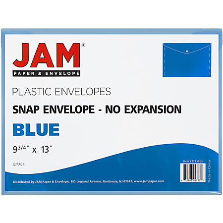"JAM Paper® Plastic Booklet Envelopes With Snap Closure, Legal Size, 9 3/4"" x 14 1/2"", Blue, Pack Of 12"