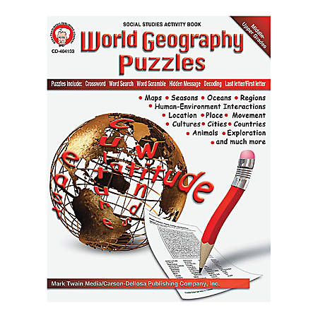 Mark Twain World Geography Puzzles Book, Grades 6 - 12