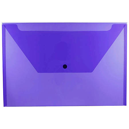 "JAM Paper® Plastic Booklet Envelopes With Snap Closure, Legal Size, 9 3/4"" x 14 1/2"", Purple, Pack Of 12"