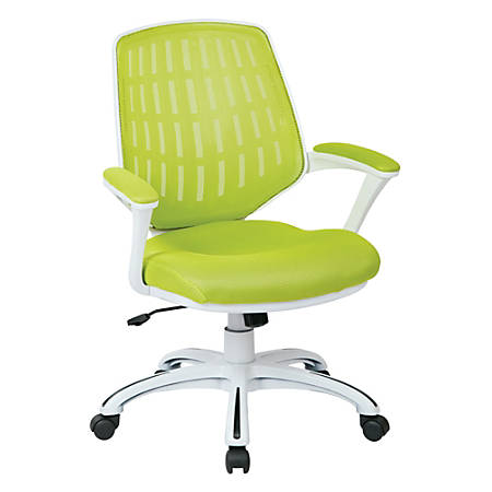 Office Star™ Avenue Six Calvin Mesh Mid-Back Chair, Green/White