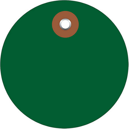 "Office Depot® Brand Plastic Circle Tags, 3"", Green, Pack Of 100"