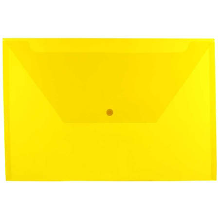 "JAM Paper® Plastic Booklet Envelopes With Snap Closure, Legal Size, 9 3/4"" x 14 1/2"", Yellow, Pack Of 12"