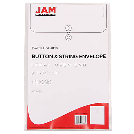 "JAM Paper® Open-End Plastic Envelopes, Legal-Size, 9 3/4"" x 14 1/2"", Clear, Pack Of 12"