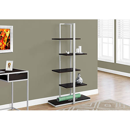 Monarch Specialties 5-Shelf Zigzag Metal Bookcase, Cappuccino/Silver