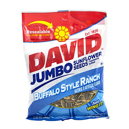 David Jumbo Sunflower Seed Pouches, Buffalo Style Ranch, 5.25 Oz, Box Of 12
