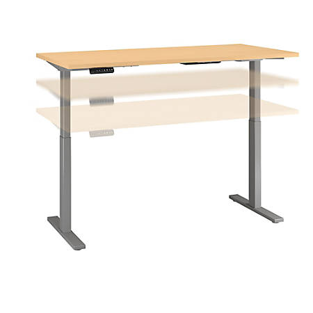 "Bush Business Furniture Move 60 Series 60""W x 30""D Height Adjustable Standing Desk, Natural Maple/Cool Gray Metallic, Standard Delivery"