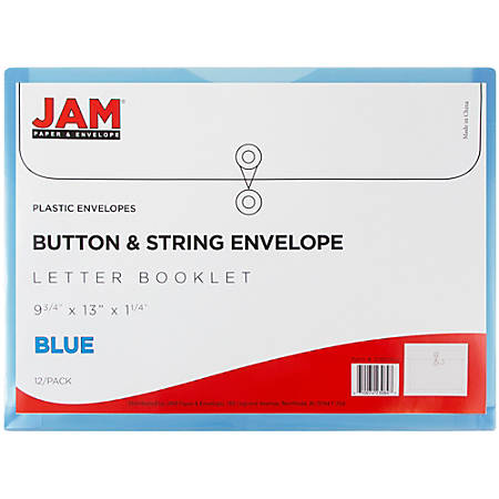 """JAM Paper® Booklet Plastic Envelopes With Button & String Closure, Letter-Size, 9 3/4"""" x 13"""", Blue, Pack Of 12"""