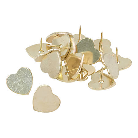 See Jane Work® Peggable Heart Push Pins, Gold, Pack Of 30 Pins