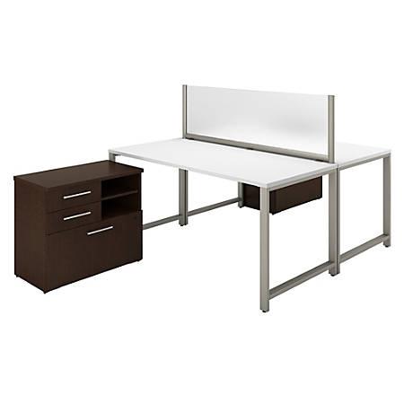 Bush Business Furniture 400 Series 2 Person Workstation With Table Desks And Storage, Mocha Cherry/White, Premium Installation