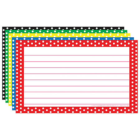 """Top Notch Teacher Products® Polka Dot Border Lined Index Cards, 3"""" x 5"""", Assorted Colors, 75 Cards Per Pack, Case Of 6 Packs"""