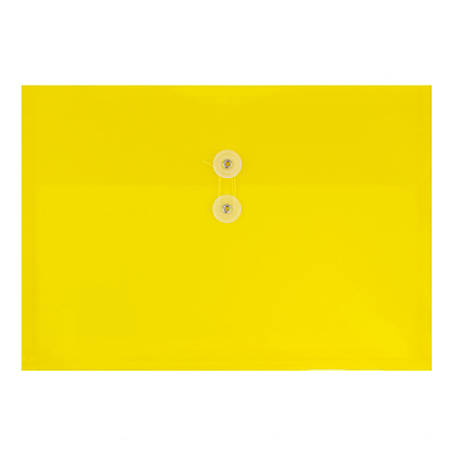 "JAM Paper® Booklet Plastic Envelopes With Button & String Closure, Letter-Size, 9 3/4"" x 13"", Yellow, Pack Of 12"
