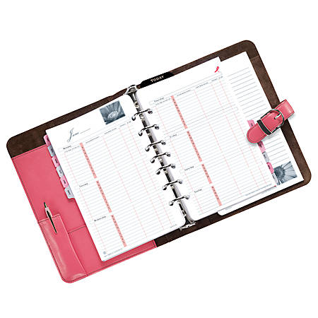 "Day-Timer® Pink Ribbon Organzier Starter Set, 5 1/2"" x 8 1/2"""