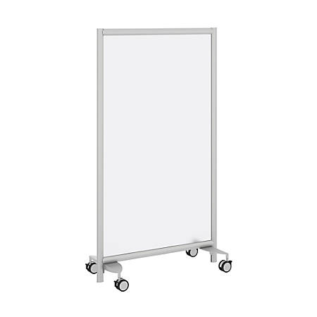 """Bush® Freestanding Frosted Screen With Wheeled Base, 62 2/5""""H x 35 1/4""""W x 1 3/16""""D, White"""