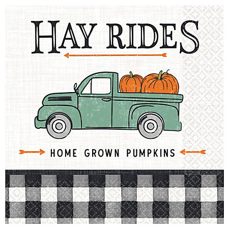 "Amscan Harvest Market Fall Lunch Napkins, Paper, 6-1/2"" x 6-1/2"", 16 Per Pack, Carton Of 5 Packs"