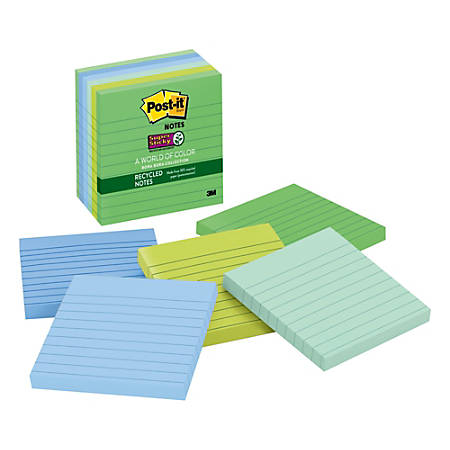 "Post-it® Super Sticky Notes, Recycled, 4"" x 4"", Bora Bora, Lined, Pack Of 6 Pads"