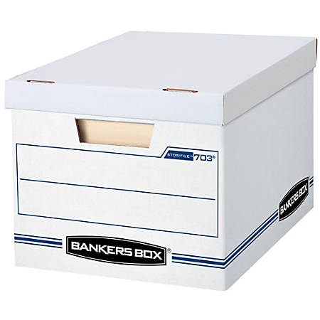 "Bankers Box® Stor/File™ Storage Boxes Basic-Duty, Lift-Off Lid, Letter/Legal, White/Blue, 60% Recycled , 10"" x 12"" x 15"", Pack of 10"