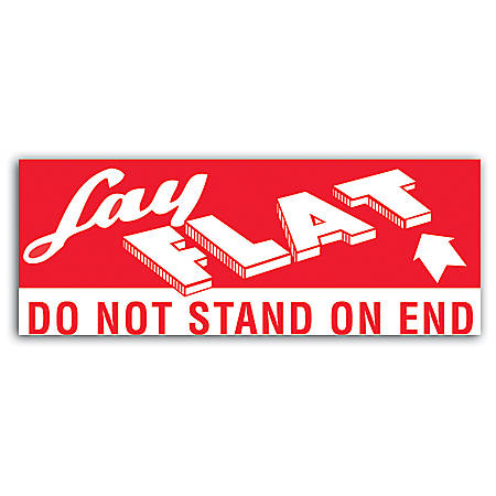 """Tape Logic® Preprinted Shipping Labels, DL1420, """"Lay Flat ™ Do Not Stand On End"""", 5"""" x 2"""", Red/White, 500 Per Roll"""