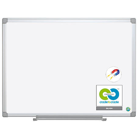 "MasterVision™ Earth Platinum Pure White™ 57% Recycled Magnetic Dry-Erase Board, 36"" x 48"