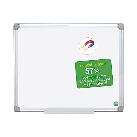 "MasterVision™ Earth Platinum Pure White™ 57% Recycled Magnetic Dry-Erase Board, 48"" x 72"