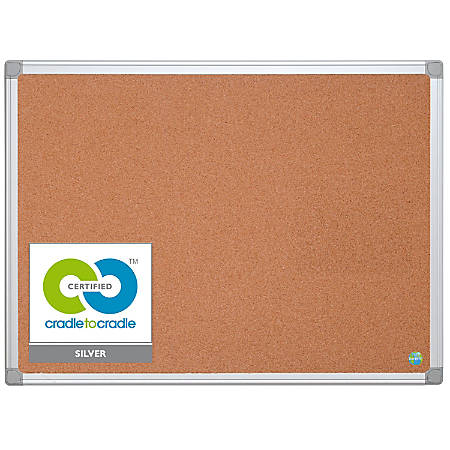 """MasterVision™ Earth Cork Board With Aluminum Frame, 24"""" x 36"""", 80% Recycled"""